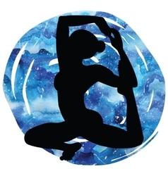 Women silhouette mermaid yoga pose eka pada raja vector