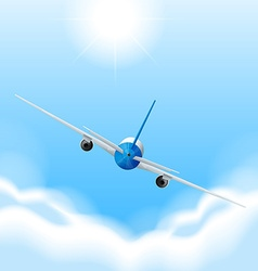 Back of airplane flying in the sky vector