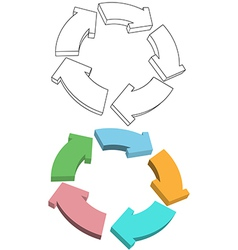 Curvy arrows cycle recycle colors drawing vector