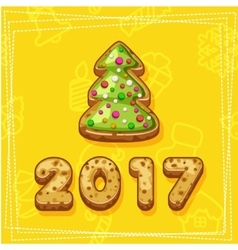 Merry Christmas and Happy New Year tree cookies vector image