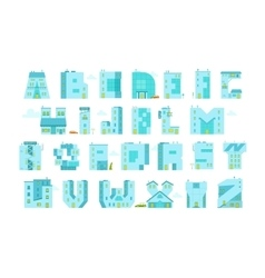 Alphabet letters-buildings you can write any word vector