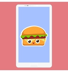 Smartphone with hamburger in vector