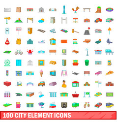 100 city element icons set cartoon style vector image