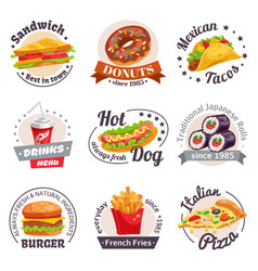 Fast food labels set vector