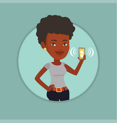 woman holding ringing mobile phone vector image