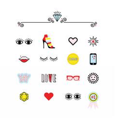Colorful modern retro feminine fun icons set vector