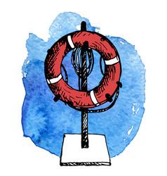 Sketch of life buoy vector