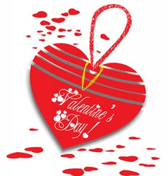 Valentine greeting wool heart card vector