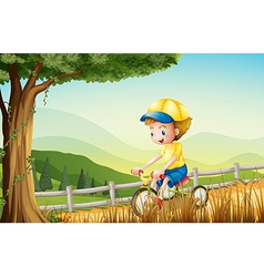 A young boy playing with his bike vector image