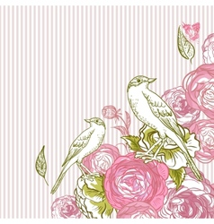 Vintage floral card with birds and butterflies vector