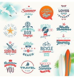 Set of travel and summer vacation type design vector image