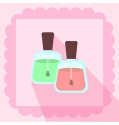 Nail polish flat icon on pink background vector