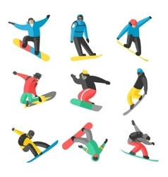 Snowboarder jump in different pose on white vector