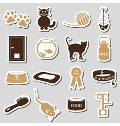 Cats pets items simple stickers set eps10 vector