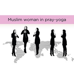Muslim woman silhouette in pray pose vector