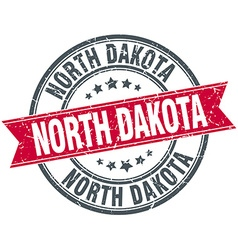 North dakota red round grunge vintage ribbon stamp vector