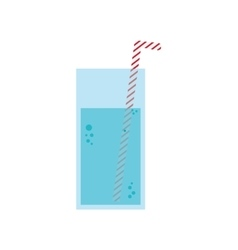 Glass of water with straw vector