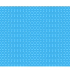 White hexagon grid on cyan seamless pattern vector