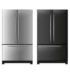 Refrigerator with black and white doors vector