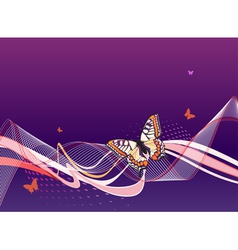 abstract blue background with butterflies waves vector image