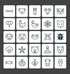 Animal icons set collection of ladybird trunked vector