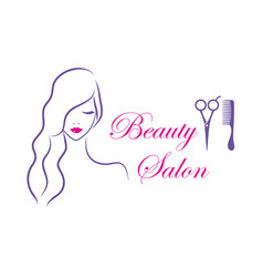 Beautiful woman logo template for hair vector
