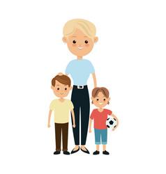 Blonde grandmother together grandchilds image vector