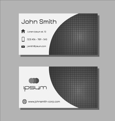 Business card template - grey square pattern vector image vector image