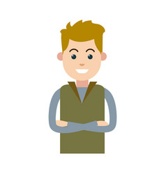Character man male young wear vest vector