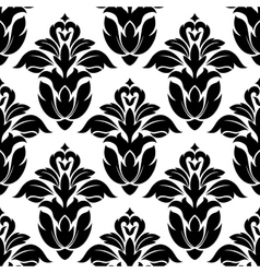 Classic floral seamless pattern with black flowers vector image