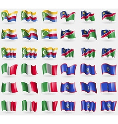 Comoros namibia italy guam set of 36 flags of the vector