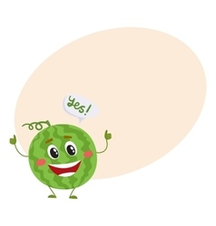 Cute and funny comic style watermelon character vector