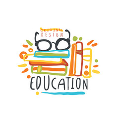 education day logo original design with books and vector image