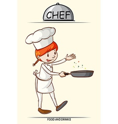 Female chef cooking with a pan vector