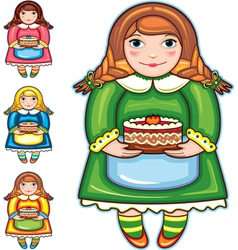 girl pie birthday set vector image vector image