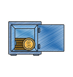 Grated coins with peso symbol inside strong box vector