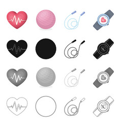 heart with a cardiogram ball a training rope a vector image