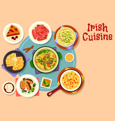 Irish cuisine traditional dinner with dessert icon vector