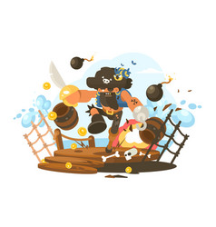 Mad pirate with hook vector