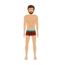 Men with brown swimming boxer vector