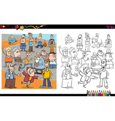 people characters coloring book vector image vector image