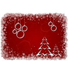 Red Christmas background with bolls and tree vector image vector image
