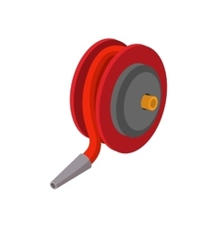 Red fire hose winder roll reels cartoon icon vector