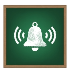 Ringing bell icon white chalk effect on green vector