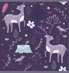 seamless pattern purple forest with deer vector image vector image