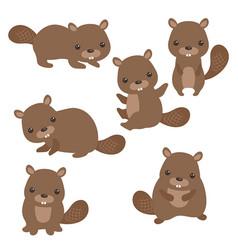 Set of cute beavers set of cute beavers vector