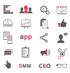 Set of modern icons app seo smm vector
