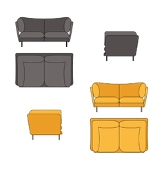 Sofa set flat grey yellow vector