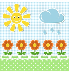 Spring fabric background with sun and flowers vector image
