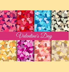 valentines day set seamless pattern with hearts vector image vector image